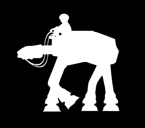 Boy Riding AT-AT Walker Star Wars Decal Vinyl Sticker|Cars Trucks Walls Laptop|WHITE|5.5 In|URI214
