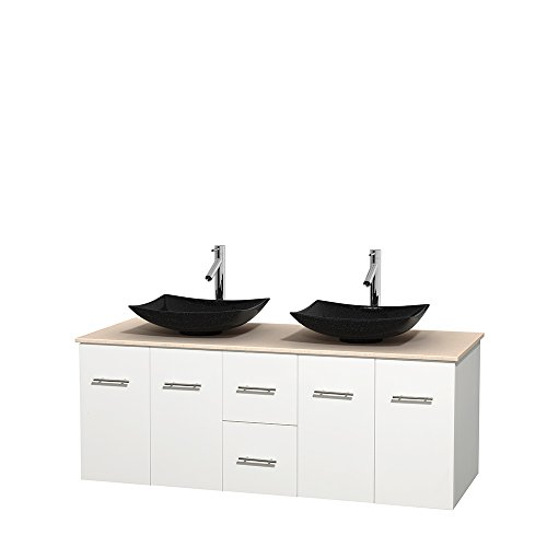 UPC 700161137781, Wyndham Collection Centra 60 inch Double Bathroom Vanity in Matte White, Ivory Marble Countertop, Arista Black Granite Sinks, and No Mirror
