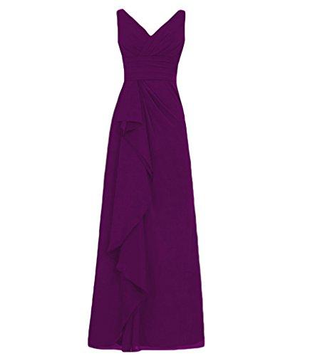 Dreagel Longue En Mousseline De Soie Des Robes De Demoiselle D'honneur V-cou Soir Plissée Robe Formelle Avec Raisin Volants