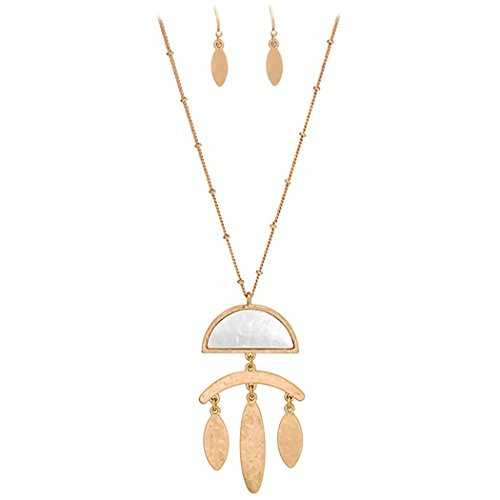 (Rosemarie Collections Women's Two Tone Geometric Long Statement Necklace and Earring)