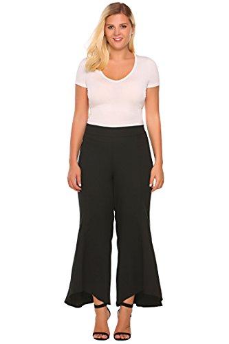 Zeagoo Womens Plus Size Flared Wide Leg High Waist Long Capri Palazzo Pants,Black,18W