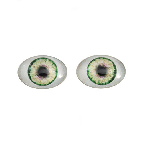 Mount Cab Pendant (Green Doll Oval Glass Eyes Fantasy Taxidermy Art Doll Making or Jewelry Crafts Set of 2 (13mm x 18mm))