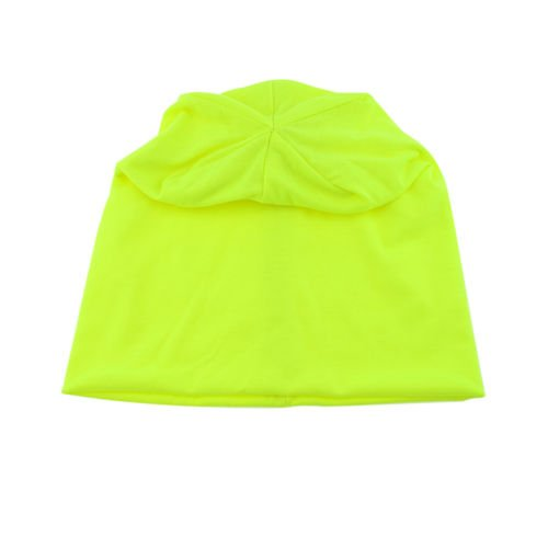 Knit Men's Women's Baggy Beanie Oversize Winter Hat Ski Slouchy Chic Cap Neon Yellow color (Uggs Bows With Short)