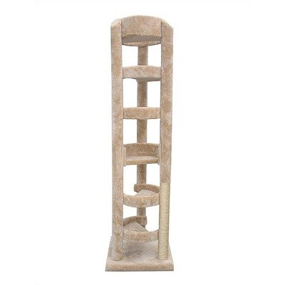 86″ The Elevator Cat Tree Parts Color: Tan, Poles Color: Tan, My Pet Supplies