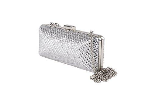 Pochette ACA221 Argento, Clutch in tessuto con decorazioni in paillettes