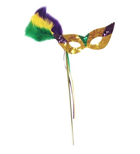 [Mardi Gras Sequin Mask With Feathers And Stick - Glamorous Mardi Gras Mask] (Feather Mask With Stick)