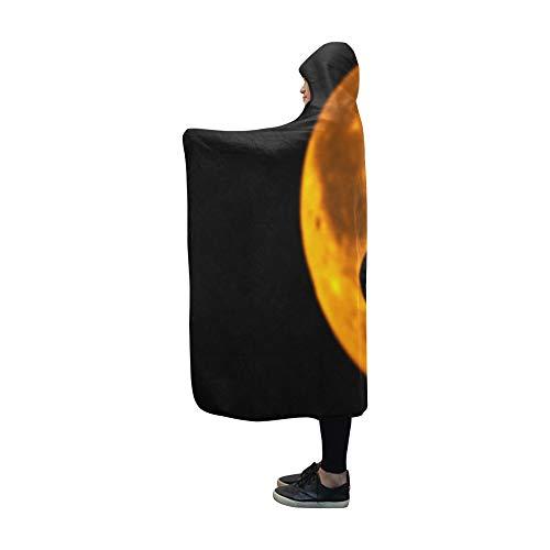 YUMOING Hooded Blanket Halloween Card Happy Halloween Party Blanket 60x50 Inch Comfotable Hooded Throw -