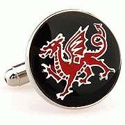 Welsh Dragon Red and Black England Cufflinks Cuff Links Enalmel