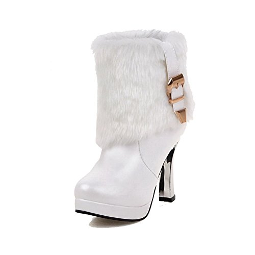 AllhqFashion Womens Round Closed Toe Low-top High-Heels Solid PU Boots White WItgW
