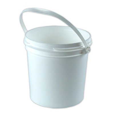 1 Gallon White Smart Seal High Density Plastic Bucket with White Tamper Evident Lid (4 Bucket)
