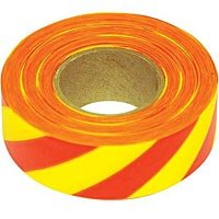 Flagging Tape, 1-3/16 Inches Wide x 300 Foot Roll (Yellow and Red Stripes) (300' Flagging Tapes)