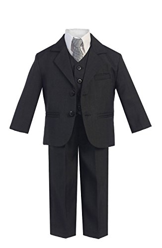 5 Piece Boy's Dress Suit with Shirt, Vest, and Tie (3, Dark Gray)