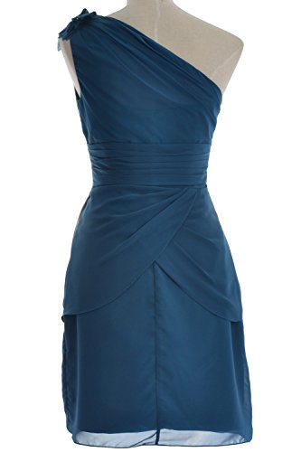 MACloth Women One Shoulder Short Bridesmaid Cocktail Dress Formal Evening Gown Wine Red