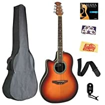 Ovation LCC047-HB Celebrity Left-Handed Mid-Depth Cutaway Acoustic-Electric Guitar Bundle with Gig Bag, Tuner, Strap, Strings, Picks, and Polishing Cloth - Honey Burst