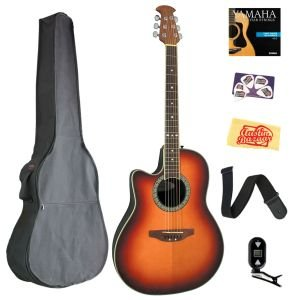 Ovation LCC047-HB Celebrity Left-Handed Mid-Depth Cutaway Acoustic-Electric Guitar Bundle with Gig Bag, Tuner, Strap, Strings, Picks, and Polishing Cloth - Honey Burst - Left Handed Ovation