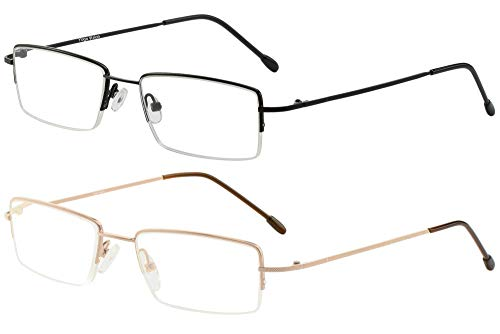 Reading Glasses Set of 2 Half Rim Ultra Lightweight Coordinating Cases Included and Durable Classic Readers for Men and Women +1.75