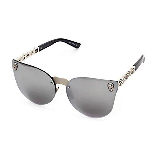 non Rétro chat stéréo polarisé gothique métal de de PC réfléchissant yeux Keephen cadre style lunettes Argent soleil en xt0q1Pdw0