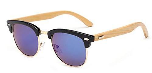 Madera de diseñador la Gafas Retro Hombres bambú UV400 Gafas Gafas sin KOMNY B Recubrimiento Semi Sol A de Marca de Gafas de Montura de Sol Espejo de IPxIzqR