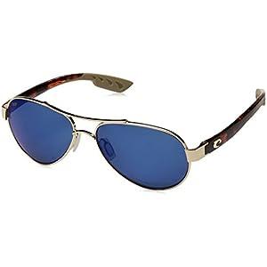 Costa del Mar Women's Loreto Polarized Iridium Aviator Sunglasses, Rose Gold Frame with Tortoise, 56.5 mm
