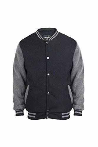 Denim Varsity Jacket - Men's Sherpa Lined Fleece Varsity Baseball Bomber Jacket Black L