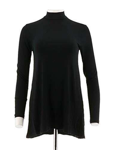 H Halston Essentials Mock Neck Tunic Long SLV Forward Seams Black M # A296772 from H by Halston