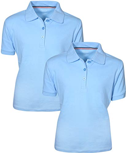 French Toast Girl's 2 Pack Uniform Short Sleeve Polo Shirts 14/16 LT Blue ()