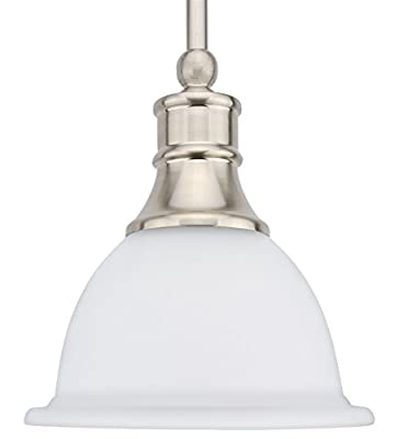 "Revel Ellie 8"" Adjustable Mini Pendant Light w/Frosted Glass Shade & Brushed Nickel Finish"