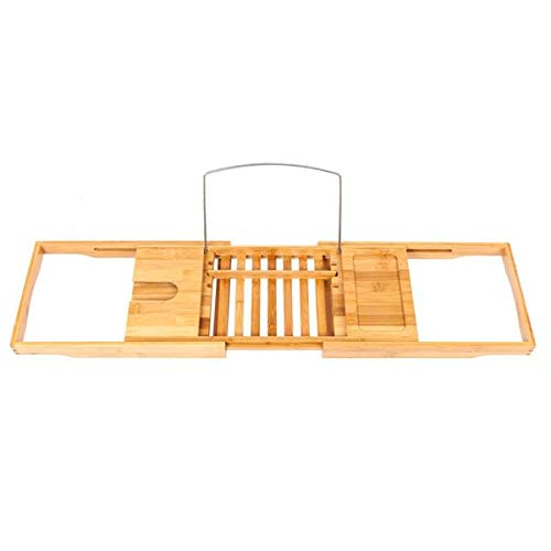Bamboo Bathtub Caddy Tray, Portable Multi-Function Expandable Serving Bath Tray Rack with Wine and Phone Holder