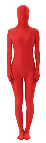 Second Skin Muscle Costume (antaina Red 2nd Skin Zipper Full Body Lycra Spandex Unitard Zentai Costume Suit,XXL)
