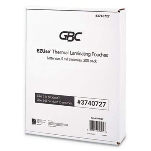 GBC EZUse Thermal Laminating Pouches, 5 mil, 8 1/2'' x 11'', Clear, Glossy, 200/PK (GBC3740727)