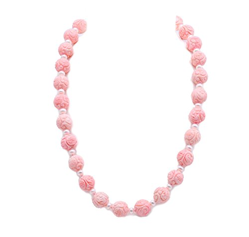JYX 15-16mm Round Pink Coral Necklace 25