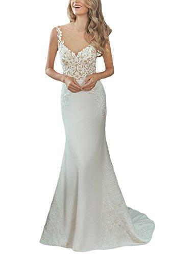 AlisaBridal Women's Sheath Bridal Gown Scoop Neck Button Back Sleeveless Sweep Train Romantic Wedding Dress Ivory 12