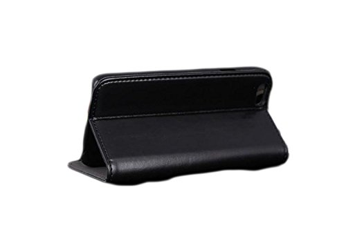 iPhone 6 case, Portfolio Wallet [Genuine Leather] (Black) [w/ business card pocket, Stylish Slim Design for the back pocket] for the Apple iPhone 6 - 4.7 inch
