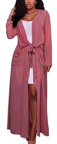Blansdi Damen Chiffon Cardigan Cover up Tops Bluse Lose Langarmshirt Elegant Sommer Maxi Offene Mantel Outwear Party Cocktail Strandkleid mit Gürtel Rosa