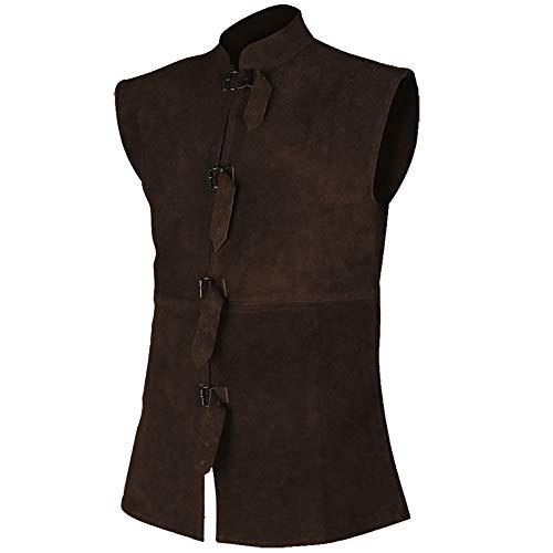 Orthello Suede Leather Vest Medieval Vest Cosplay LARP Renaissance Jerkin (Small, Brown) -