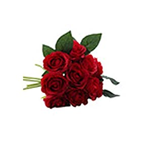 Geminilee 1 Bouquet 10Pcs Artificial Red Rose Heads Flower Wedding Bridal Silk Bouquet Birthday Party Valentine's Day Home Decoration,2 78