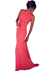 Gricharim Women's Mermaid Long Prom Dresses Sexy Backless Sheath Evening Gowns