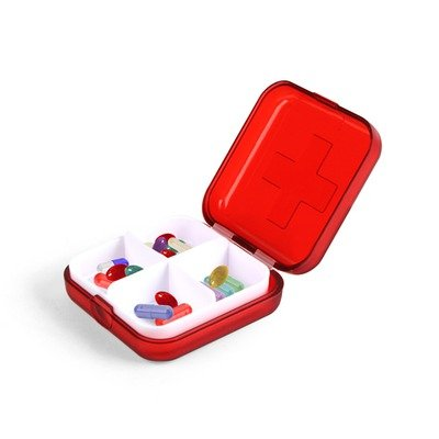 Kikkerland 4 Compartment Pill Box Pillbox Travel Holder New Container Medicine !