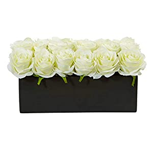 Artificial Flowers -Mini Phalaenopsis Orchid White and Bromeliad in Gray Vase 18