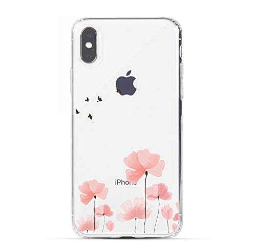 (HUIYCUU Case Compatible with iPhone Xs for iPhone X Case, Rose Flower Design Print Shockproof Soft Protective Back Case for Girl Women Cute Floral Pattern Clear Bumper Cover, Blossoms Birds)