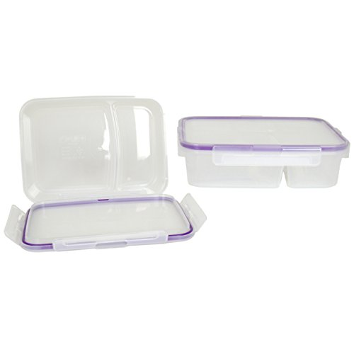 Snapware 3.5-Cup Airtight Rectangle Lunch Box Divided Food Storage Container, Plastic (2-Pack) (Snapware Divided)