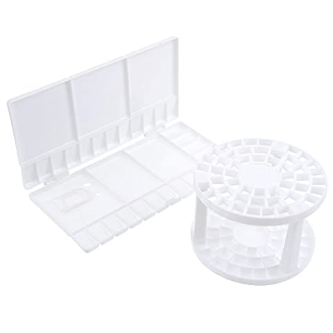 eBoot Folding Paint Tray Plastic Palettes and 49 Holes Paint Brush Holder Brush Organizer Plastic Round Brush Stand, White