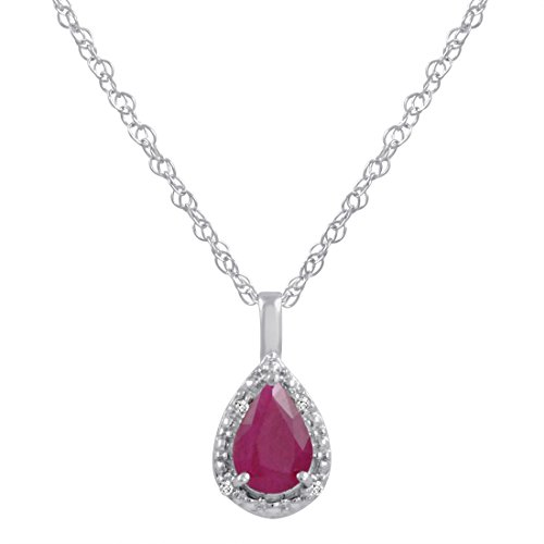 14K White Gold Pear Shape Ruby and Diamond Pendant-Necklace (3/4ct. 18