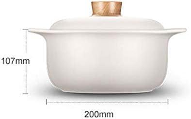 Marmites Batterie de cuisine en céramique Stovetop marmite à soupe saine Cocotte pot d'argile Marmite Faïence avec couvercle blanc Les marmites