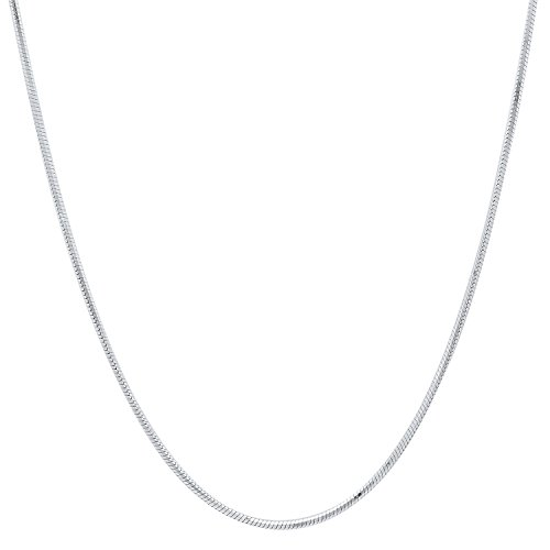 (Thin 0.9mm 925 Sterling Silver Italian Crafted Eight-Sided Snake Chain Necklace, 20)