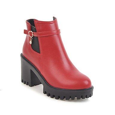 Bottes CN35 EU36 US5 Rond Automne Bottes UK3 Mode Chaussures Femme Bout Chunky Boucle de RTRY Bottines Simili Hiver Bottes Cuir 5 Talon Bottes Combat Strass Bootie 5 g7FW1q