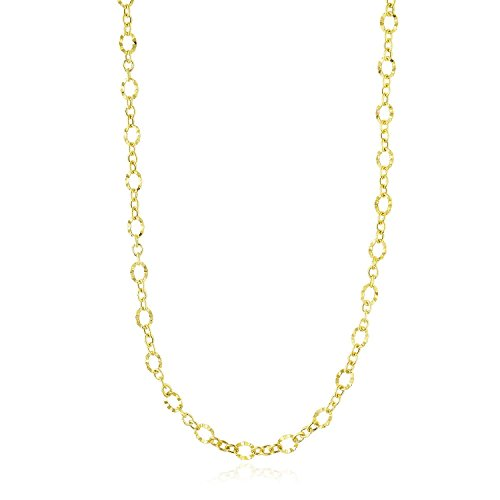 14K Yellow Gold Hammered Oval Link and Cable Chain Necklace Desidned For Unisex 0.22mm, Simulated