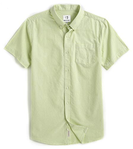 - Men's Short Sleeve Oxford Button Down Casual Shirt Green Large
