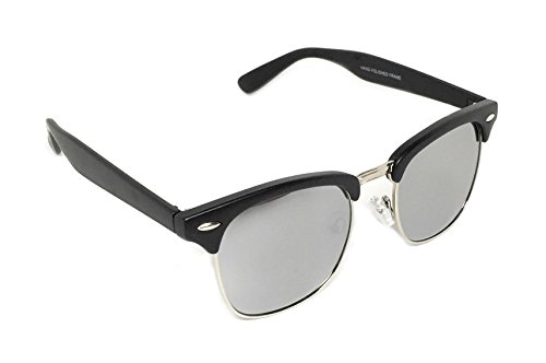 WebDeals - Vintage Classic Half Frame Horn Rimmed Browline Design Sunglasses (Black, Silver / - Malcolm Sunglasses X