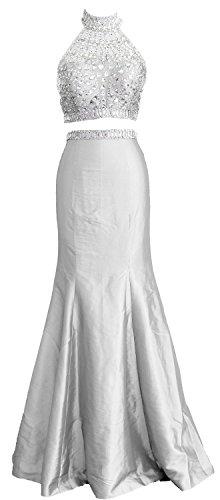 Neck Prom Formal Mermaid Dress Two Women Weiß Gown Taffeta High Long Piece MACloth qSAOwXq